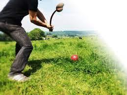 joueur de golf fermier dans prairie
